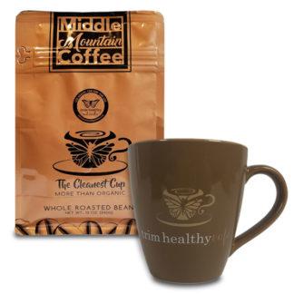 Middle Mountain Coffee Whole Bean Roasted 12oz Pouch & Trimmaccino Mug Combo SKU number 1MMCWHOLE1MUG