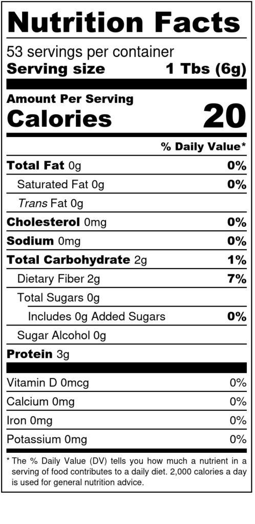 Image of THM Nutritional Yeast 12oz Bag - SKU# 752830217010 Nutrition Label