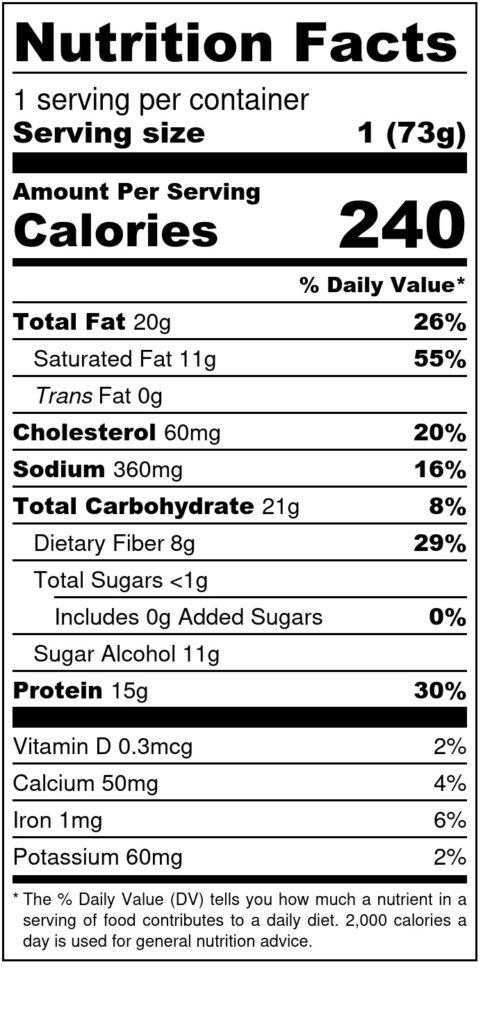 Image of THM Protein Pleasure Cookie: Cinnadoodle 2.6oz SKU# 644216212385 Nutrition Label