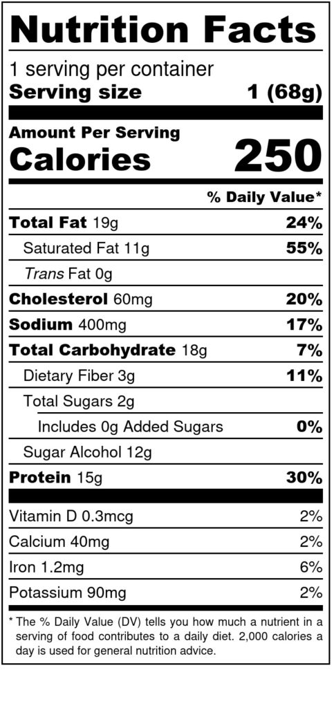 Image of THM Protein Pleasure Cookie: Peanut Peanut 2.4oz SKU# 644216212484 Nutrition Label