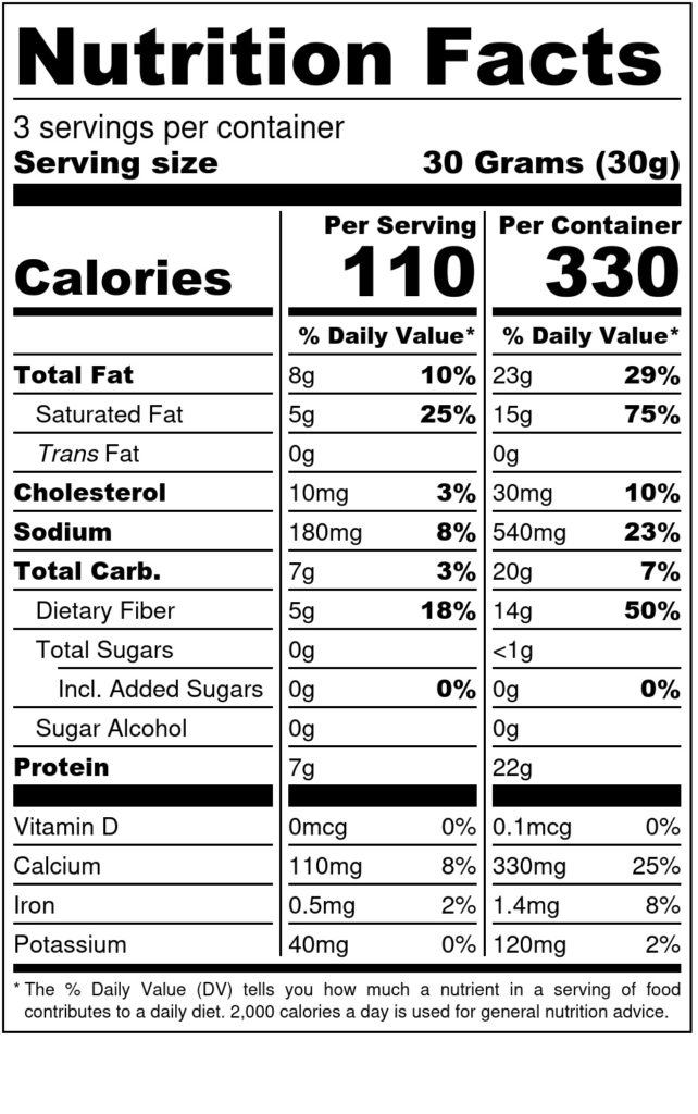 Image of THN Shameless Crackers: Cheesy Kick 3.3oz SKU# SC-CHSYKIK Nutrition Label