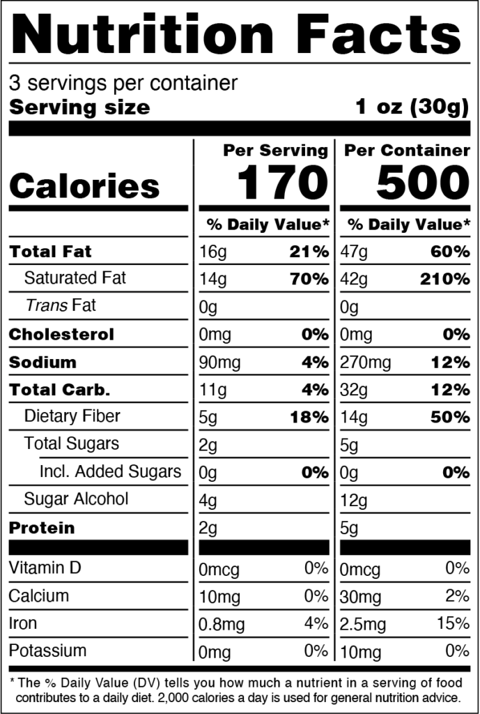 Image of THN Crispy Addictions: Sweetly Cinnamon Coconut Chips SKU# 752830208315 Nutrition Facts
